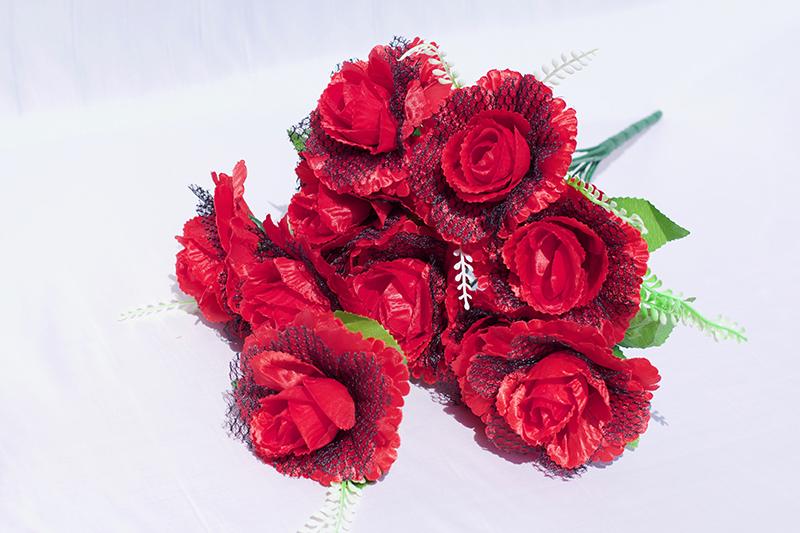 50034-1 красный с черным Букет роза Вуаль 10гол. 50см. RT-49.jpg
